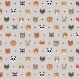 Tissu petits  animaux perle - 64