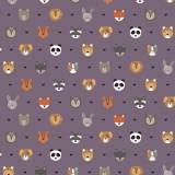 Tissu petits  animaux violine - 64