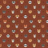Tissu petits  animaux roux - 64