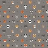 Tissu petits  animaux gris - 64