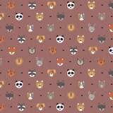 Tissu petits  animaux vieux rose - 64