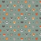 Tissu petits  animaux celadon - 64