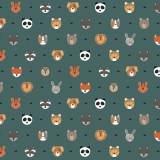Tissu petits  animaux emeraude - 64