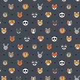 Tissu petits  animaux ardoise - 64