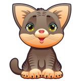 Coussin chat naif brun - 64