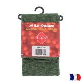 Mi-bas coton opaque chiné t.u.vert - 66
