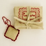 Pochette couture rouge lin/coton