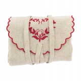 Pochette couture coeur rouge lin/coton