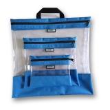 Pochettes transparentes gigognes bleu x3 - 70