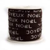 """Ruban lin coton """"joyeux noël"""" 10 mm - 77"""