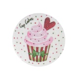 """6 boutons 32mm """"cup cakes"""" s/ blanc - 77"""