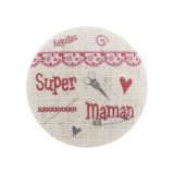 "6 Boutons ""super maman"" fond naturel - 77"