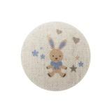 6 Boutons Mon doudou bleu fond naturel - 77