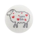 """Bouton x6 lin écru """"100% laine mouton"""" 40mm - 77"""