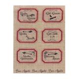 """Planche de 6 étiquettes""""recettes..""""rouge sur lin - 77"""