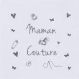 """6 coupons """"maman couture"""" gris sur métis blanc - 77"""