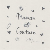 """6 coupons """"maman couture"""" gris sur métis nat. - 77"""