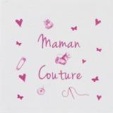 """6 coupons """"maman couture"""" rose sur métis blanc - 77"""