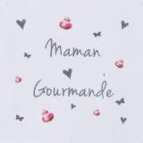 """6 coupons """"maman gourmande"""" gris sur métis blanc - 77"""