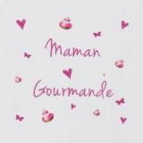 """6 coupons """"maman gourmande"""" rose sur métis blanc - 77"""
