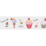 """6 messages sergé 35mm """"cupcakes humm"""" s/ blanc - 77"""