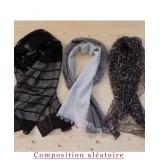 Assortiment de 3 foulards nuance noire - 80
