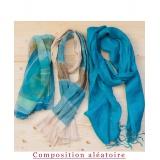 Assortiment de 3 foulards nuance turquoise - 80