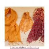 Assortiment de 3 foulards nuance orange - 80