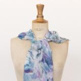 Echarpe mousse polyester 35x160 bleu - 80