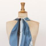 Echarpe satin 35x160 bleu/gris - 80