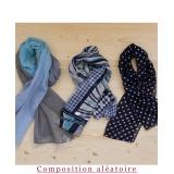 Assortiment de 3 foulards nuance bleu - 80