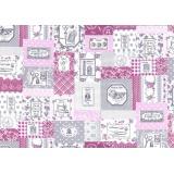 Tissu Yuwa 100% coton motif étiquettes 3m - 82