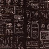 Tissu Yuwa 100% coton motif ciseaux merce 3m - 82