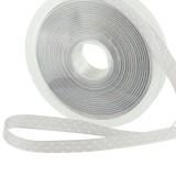 Ruban poly gris perle pois blanc 10mm