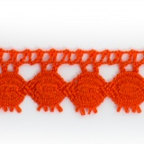 Dentelle 100 % coton orange - 2,2 cm