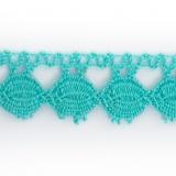 Dentelle 100 % coton turquoise - 1,7 cm