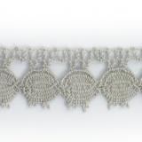 Dentelle 100 % coton gris clair - 2,2 cm