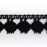 Dentelle 100 % coton noir - 2,2 cm