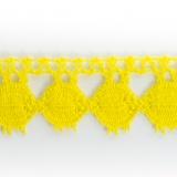 Dentelle 100 % coton jaune vif - 2,2 cm