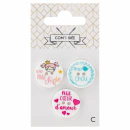 Boutons messages 20mm chipie/ princesse/ bisous - 1000