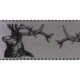 Ruban stags argent grey 25mm - 101