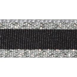 Ruban winter stripe argent 10mm - 101