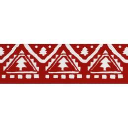 Ruban nordic tree red/blanc 25mm - 101