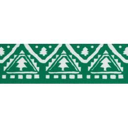 Ruban nordic tree green/blanc 25mm - 101