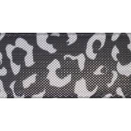 Ruban leopard spots argent/black25mm - 101