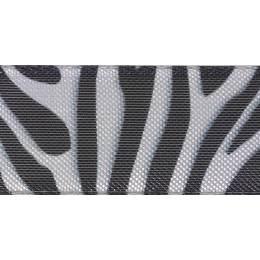 Ruban zebra stripe argent/black25mm - 101