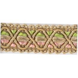 Galon ameublement beige/rose/vert 12 mm - 136