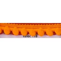 Galon pompon orange 12 mm
