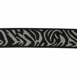 Elastique 2,5cm noir/argent - 136