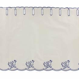 Brise bise poule 29cm coton brodé bleu - 143